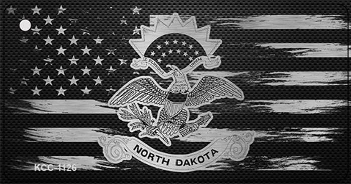 North Dakota Carbon Fiber Effect Novelty Metal Key Chain KCC-1126