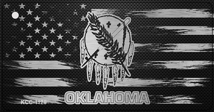 Oklahoma Carbon Fiber Effect Novelty Metal Key Chain KCC-1128