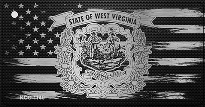 West Virginia Carbon Fiber Effect Novelty Metal Key Chain KCC-1140