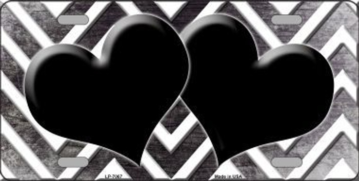 Black White Hearts Chevron Oil Rubbed Metal Novelty License Plate
