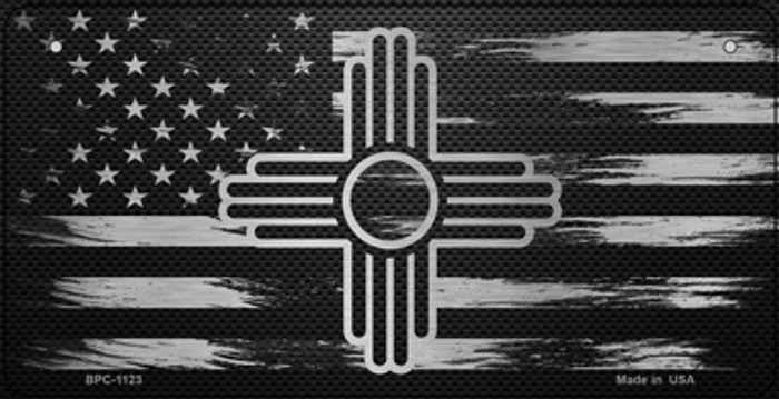 New Mexico Carbon Fiber Effect Novelty Metal Bicycle Plate BPC-1123