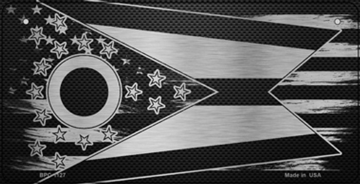 Ohio Carbon Fiber Effect Novelty Metal Bicycle Plate BPC-1127