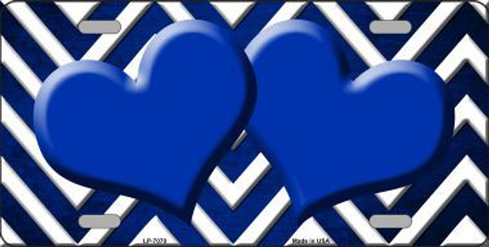 Blue White Hearts Chevron Oil Rubbed Metal Novelty License Plate