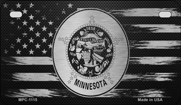 Minnesota Carbon Fiber Brushed Aluminum Novelty Metal Motorcycle Plate MPC-1115
