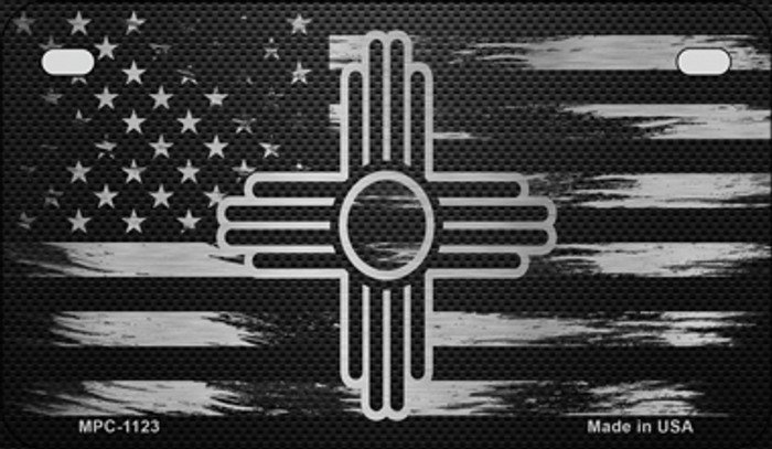 New Mexico Carbon Fiber Brushed Aluminum Novelty Metal Motorcycle Plate MPC-1123