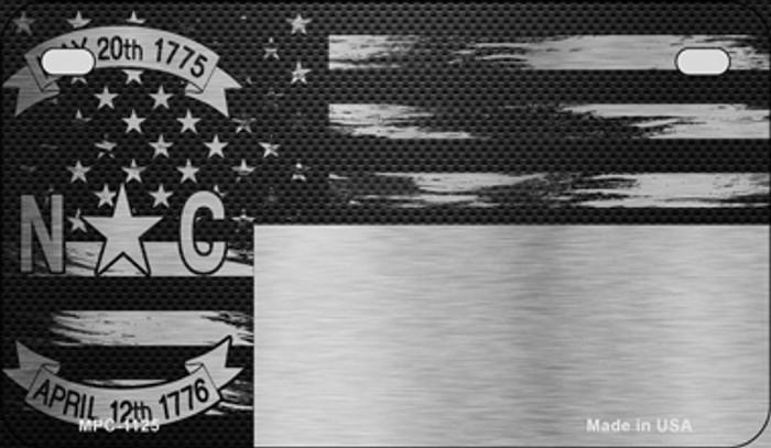 North Carolina Carbon Fiber Brushed Aluminum Novelty Metal Motorcycle Plate MPC-1125