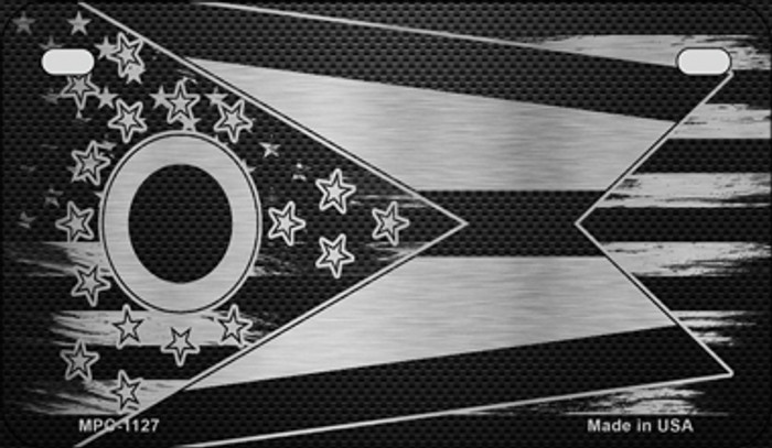 Ohio Carbon Fiber Brushed Aluminum Novelty Metal Motorcycle Plate MPC-1127