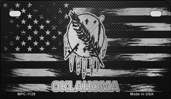 Oklahoma Carbon Fiber Brushed Aluminum Novelty Metal Motorcycle Plate MPC-1128