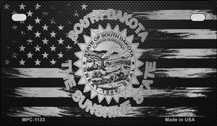 South Dakota Carbon Fiber Brushed Aluminum Novelty Metal Motorcycle Plate MPC-1133
