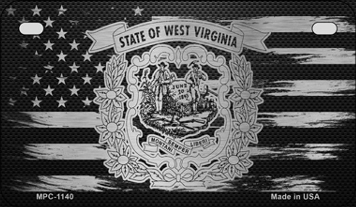 West Virginia Carbon Fiber Brushed Aluminum Novelty Metal Motorcycle Plate MPC-1140