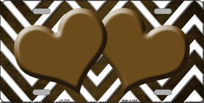 Brown White Hearts Chevron Oil Rubbed Metal Novelty License Plate