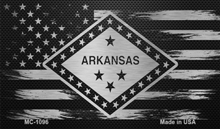 Arkansas Carbon Fiber Brushed Aluminum Novelty Metal Magnet MC-1096