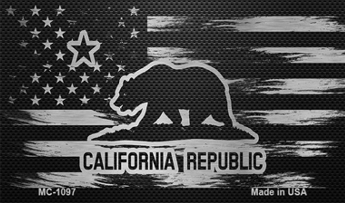 California Carbon Fiber Brushed Aluminum Novelty Metal Magnet MC-1097