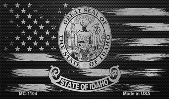 Idaho Carbon Fiber Brushed Aluminum Novelty Metal Magnet MC-1104
