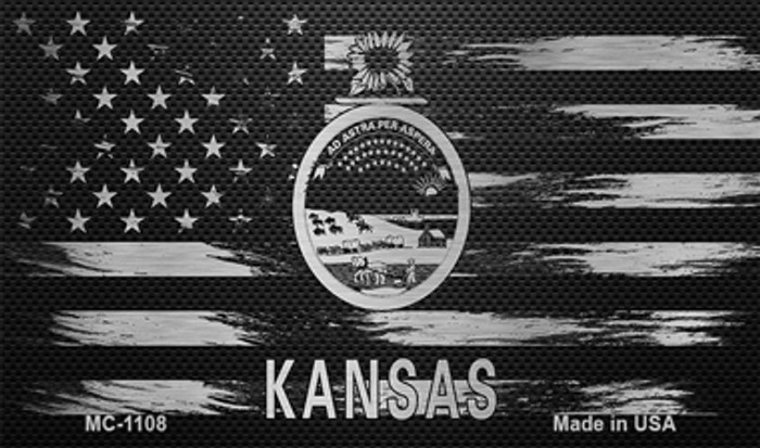 Kansas Carbon Fiber Brushed Aluminum Novelty Metal Magnet MC-1108