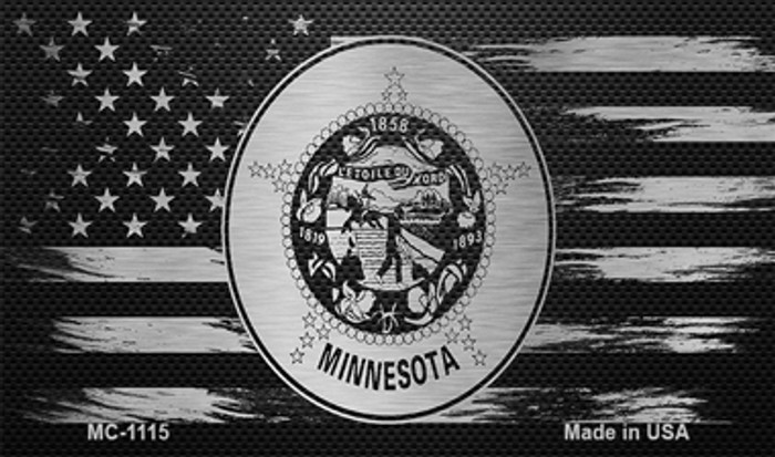 Minnesota Carbon Fiber Brushed Aluminum Novelty Metal Magnet MC-1115