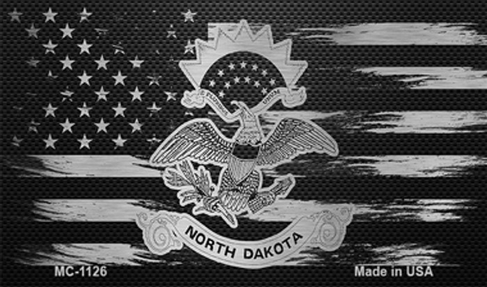 North Dakota Carbon Fiber Brushed Aluminum Novelty Metal Magnet MC-1126