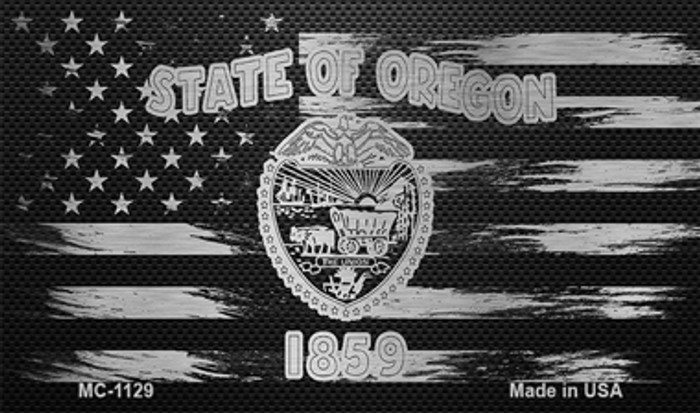 Oregon Carbon Fiber Brushed Aluminum Novelty Metal Magnet MC-1129