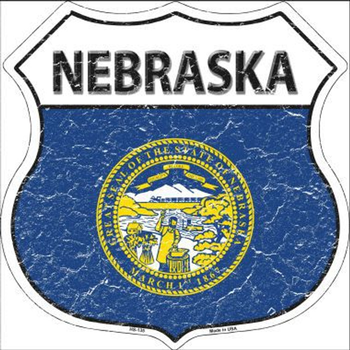 Nebraska State Flag Highway Shield Metal Sign
