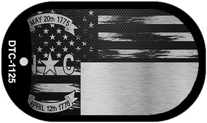 North Carolina Carbon Fiber Brushed Aluminum Novelty Metal Dog Tag Necklace DTC-1125