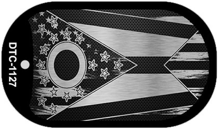 Ohio Carbon Fiber Brushed Aluminum Novelty Metal Dog Tag Necklace DTC-1127
