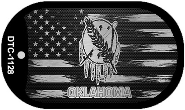 Oklahoma Carbon Fiber Brushed Aluminum Novelty Metal Dog Tag Necklace DTC-1128