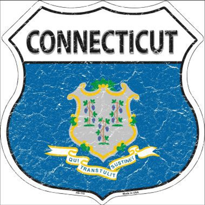 Connecticut State Flag Highway Shield Metal Sign