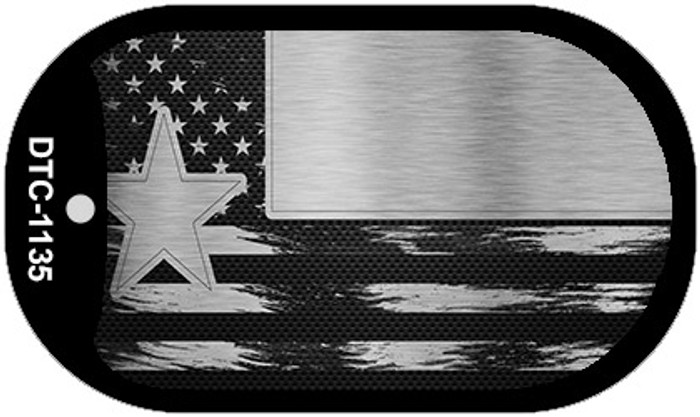 Texas Carbon Fiber Brushed Aluminum Novelty Metal Dog Tag Necklace DTC-1135