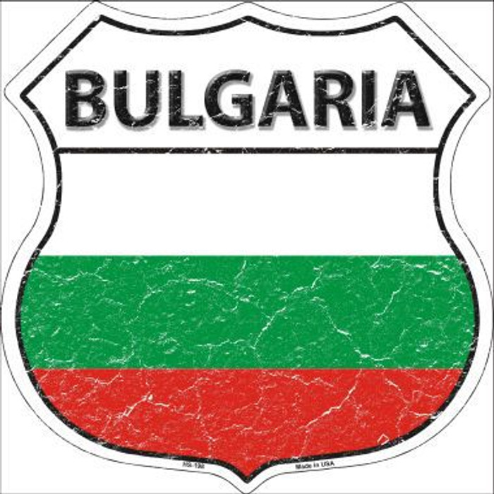 Bulgaria Country Flag Highway Shield Metal Sign