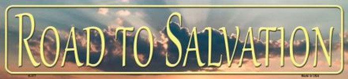 Road To Salvation Novelty Metal Small Street Sign