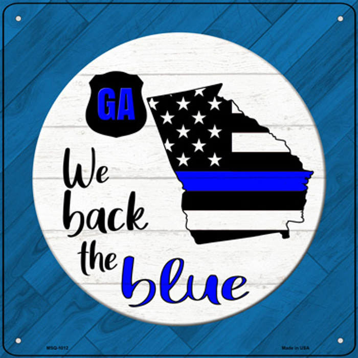 Georgia Back The Blue Novelty Metal Mini Square Sign MSQ-1012