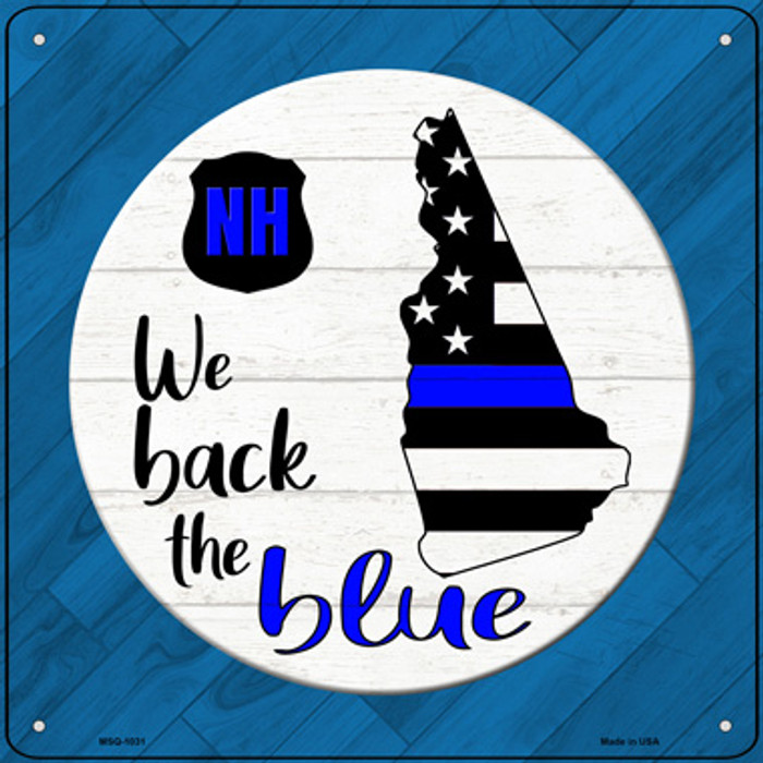 New Hampshire Back The Blue Novelty Metal Mini Square Sign MSQ-1031
