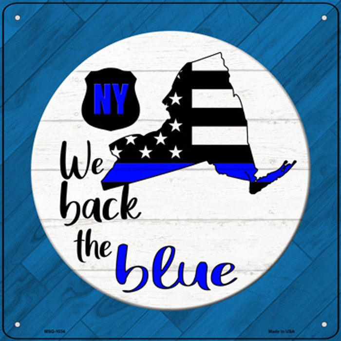 New York Back The Blue Novelty Metal Mini Square Sign MSQ-1034