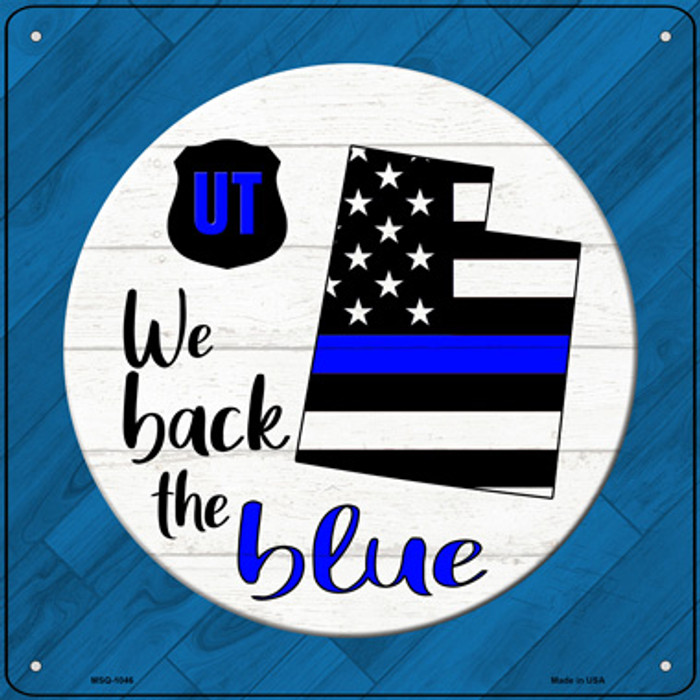 Utah Back The Blue Novelty Metal Mini Square Sign MSQ-1046