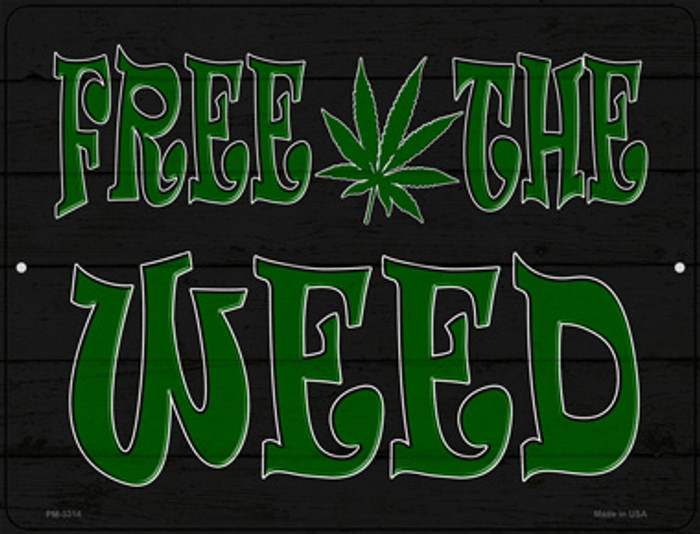 Free The Weed Novelty Metal Mini Parking Sign PM-3314