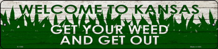 Kansas Get Your Weed Novelty Metal Small Street Sign K-1568