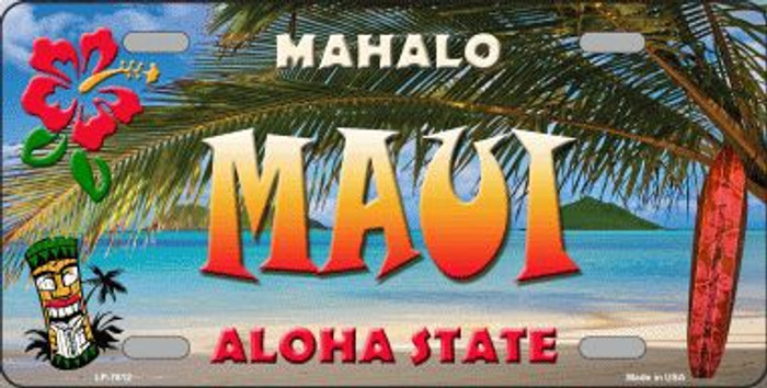 Maui Hawaii State Background Novelty Metal License Plate