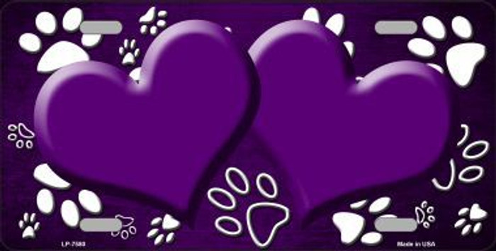 Paw Print Heart Purple White Metal Novelty License Plate