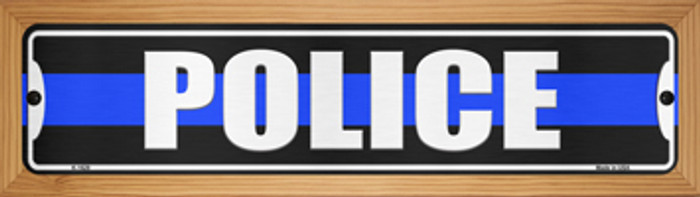 Police Blue Line Novelty Wood Mounted Small Metal Street Sign WB-K-1629