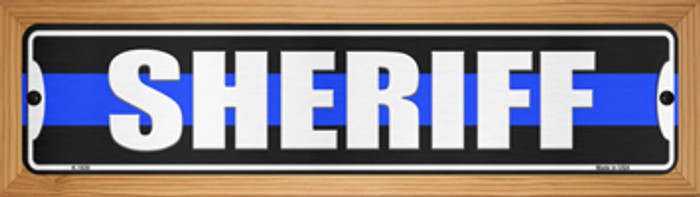 Sheriff Blue Line Novelty Wood Mounted Small Metal Street Sign WB-K-1630