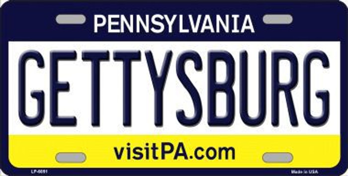 Gettysburg Pennsylvania State Background Novelty Metal License Plate