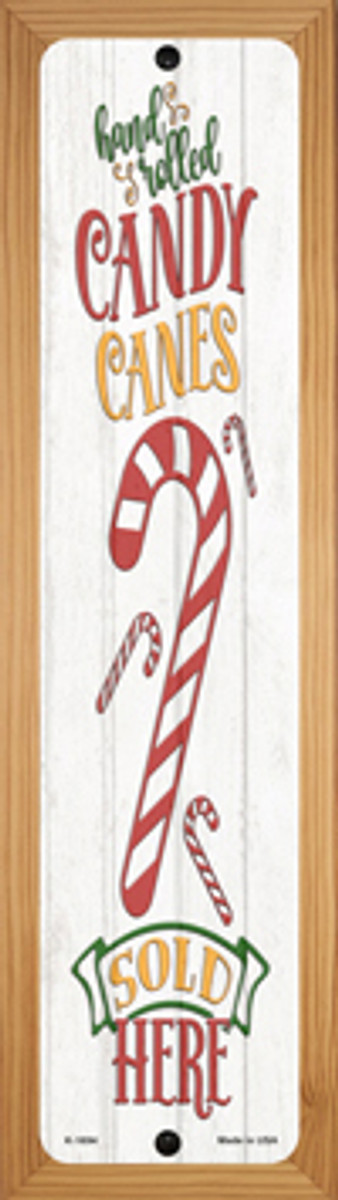 Candy Canes Sold Here White Novelty Wood Mounted Small Metal Street Sign WB-K-1694