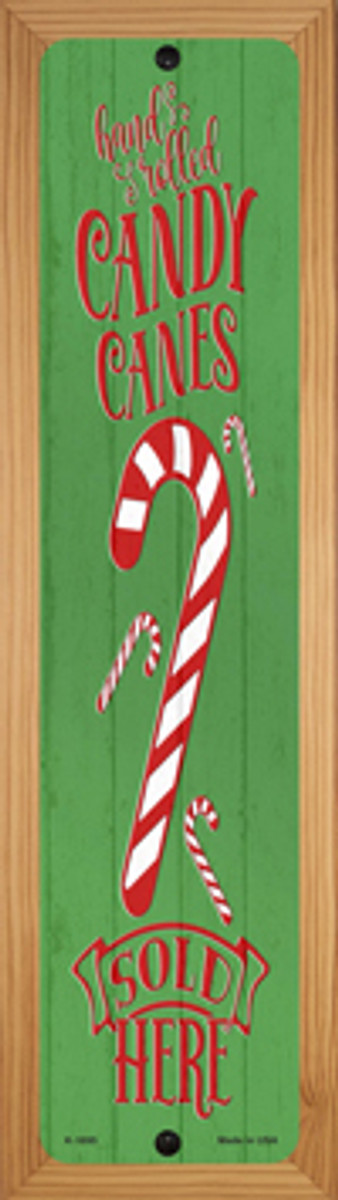 Candy Canes Sold Here Green Novelty Wood Mounted Small Metal Street Sign WB-K-1695