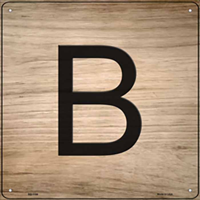 B Letter Tile Novelty Metal Square Sign SQ-1104