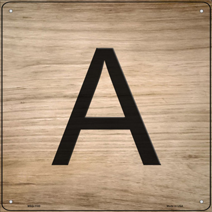 A Letter Tile Novelty Mini Metal Square Sign MSQ-1103