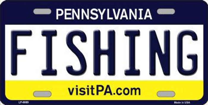 Fishing Pennsylvania State Background Novelty Metal License Plate