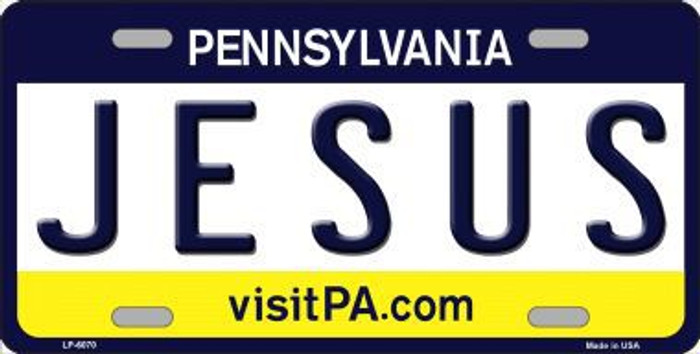 Jesus Pennsylvania State Background Novelty Metal License Plate