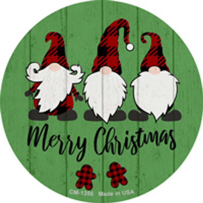 Merry Christmas Gnomes Novelty Metal Circle Magnet CM-1356