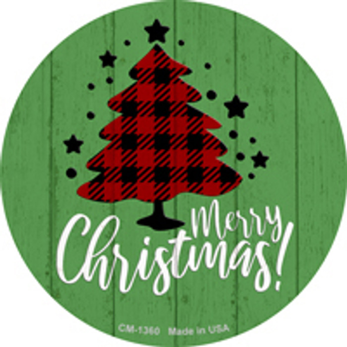 Merry Christmas With Tree Novelty Metal Circle Magnet CM-1360