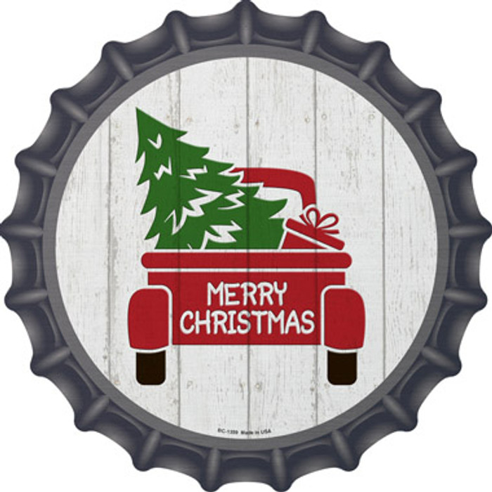 Christmas Tree In Truck Bed Novelty Metal Bottle Cap BC-1359